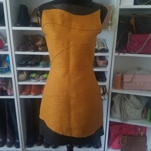 Proenza Schouler Tweed Leather Gold Mini Dress